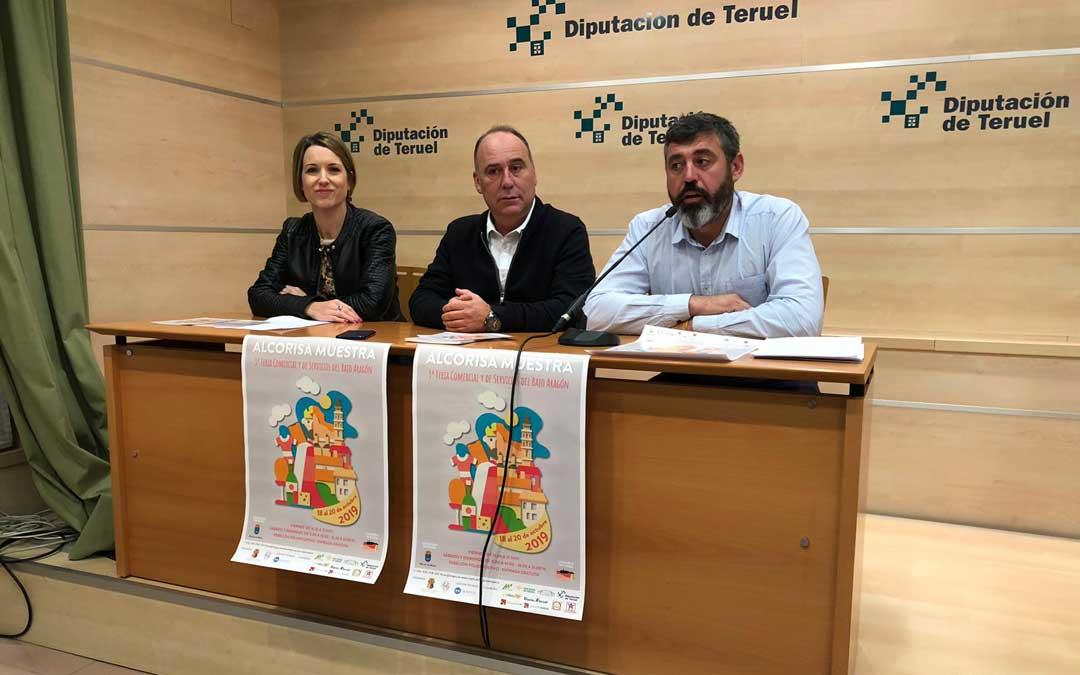 Romina Formento, Miguel Iranzo y Antonio Pérez, en la presentación de la Feria de Alcorisa en la Diputación de Teruel. / DPT