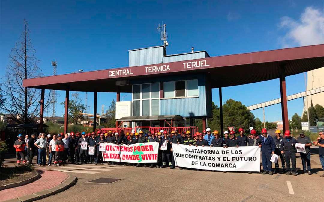 Los trabajadores de la Central Térmica de Andorra paran por la España vaciada. Andorra perdió 166 habitantes entre 2017 y 2018.