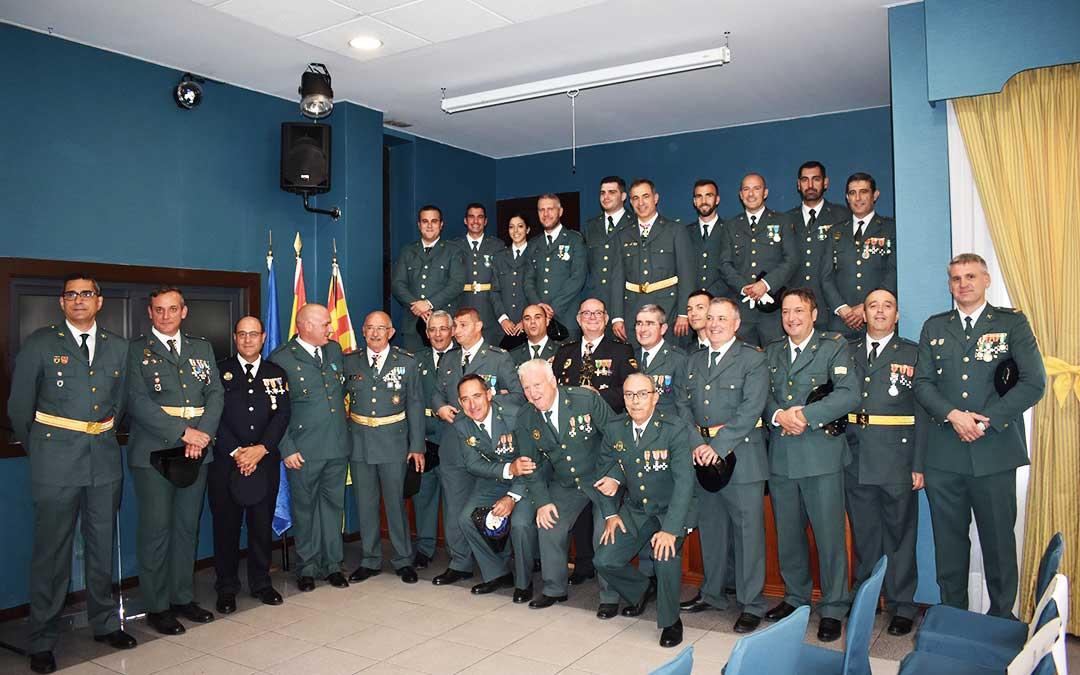 Representantes de la Guardia Civil del Bajo Aragón, durante el acto en honor a su patrona.