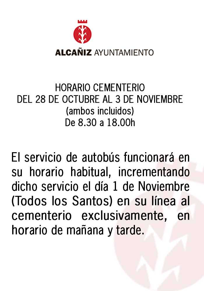 Horario del cementerio de Alcañiz el 1 de noviembre