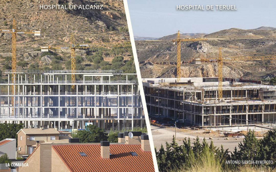 La obra del Hospital de Teruel alcanza al de Alcañiz pese a que se comenzó a construir un año más tarde
