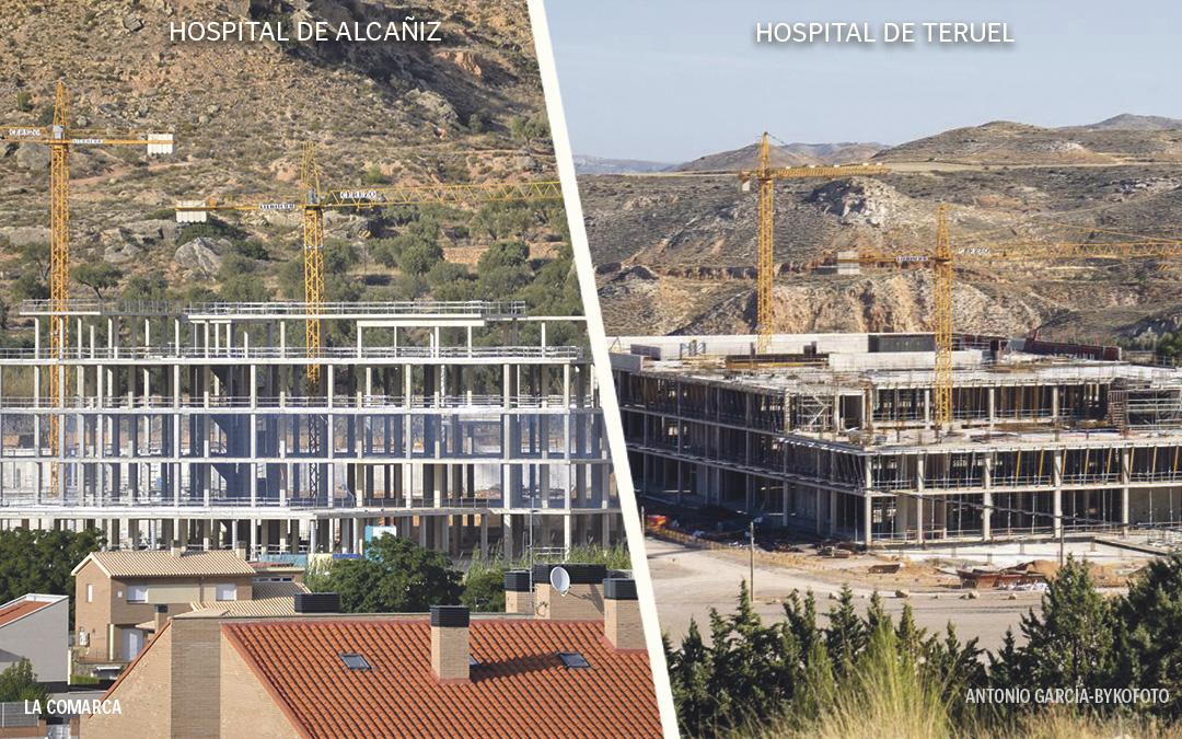 Foto comparativa del grado de ejecución de los hospitales de Teruel y Alcañiz. Ambos tienen su edificio principal levantado pese a que el turolense se comenzó a construir en febrero.