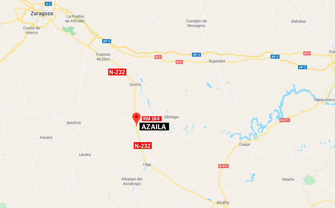 Enésimo accidente con herido grave en la N-232 a la altura de Azaila