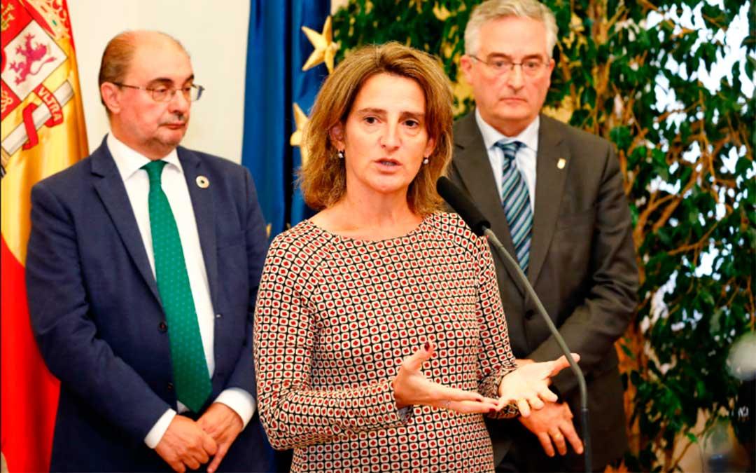 La ministra de Transición Ecológica en funciones, Teresa Ribera, en la reunión mantenida en octubre de 2019 con el Gobierno de Aragón./ DGA