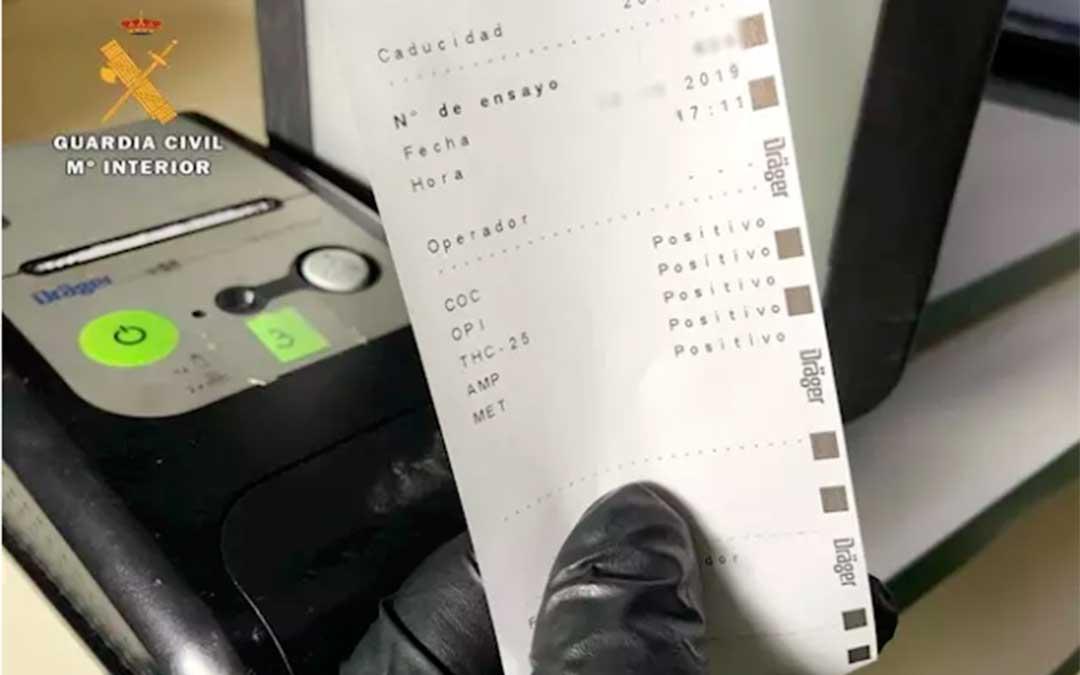 El narcotest de la Guardia Civil marca positivo en los cinco tipos de droga que puede detectar./ Guardia Civil
