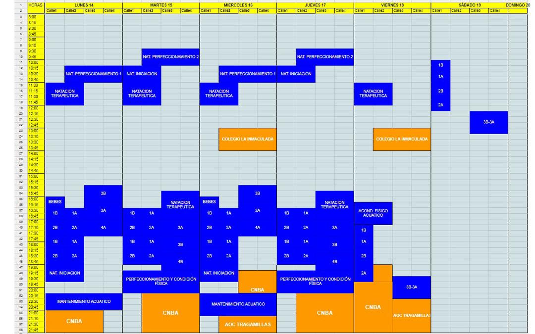 Ocupación de la piscina, con apenas horas libres para practicar la natación por libre (las de colores están reservadas)