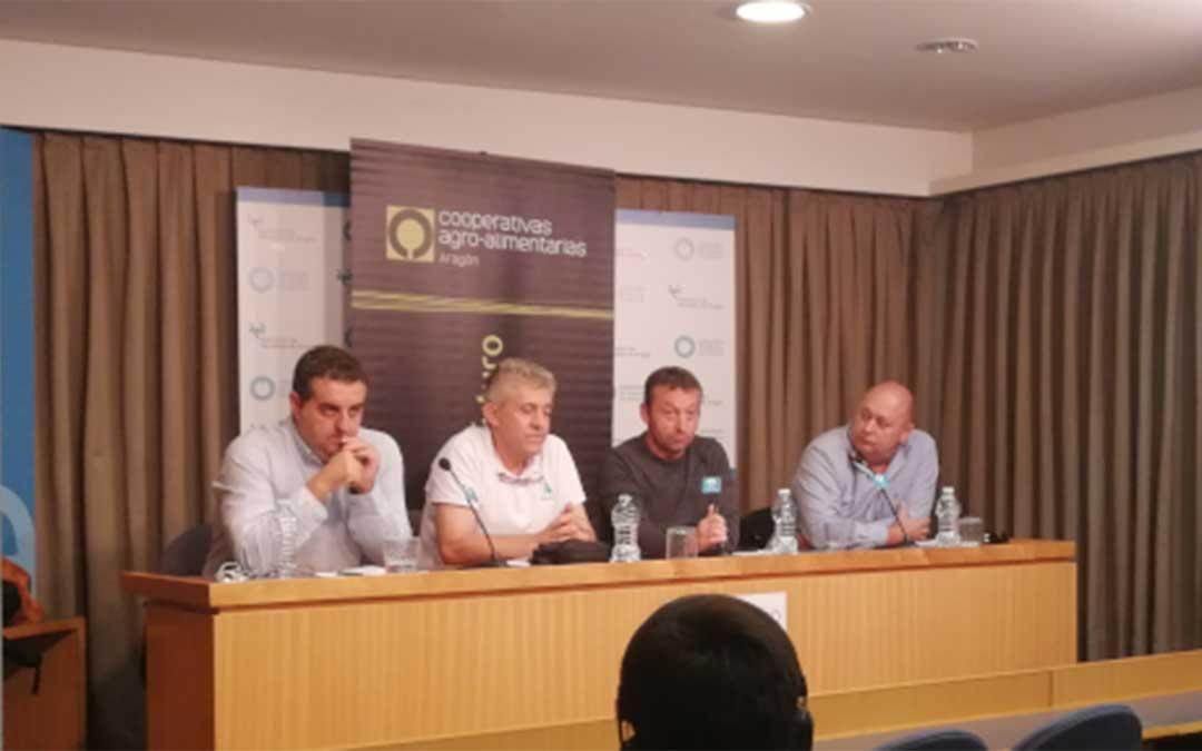 Representantes de las organizaciones agrarias aragonesas este martes./ UPA Aragón