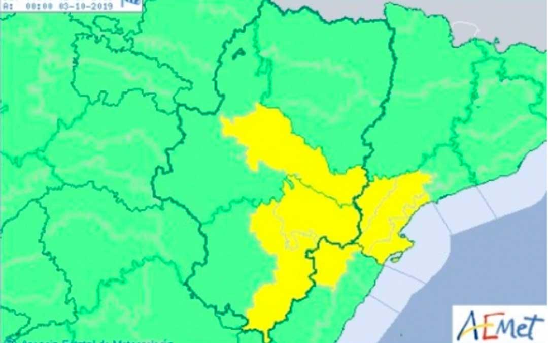 Aviso amarillo por vientos en Gúdar y Maestrazgo, Bajo Aragón y Ribera del Ebro.