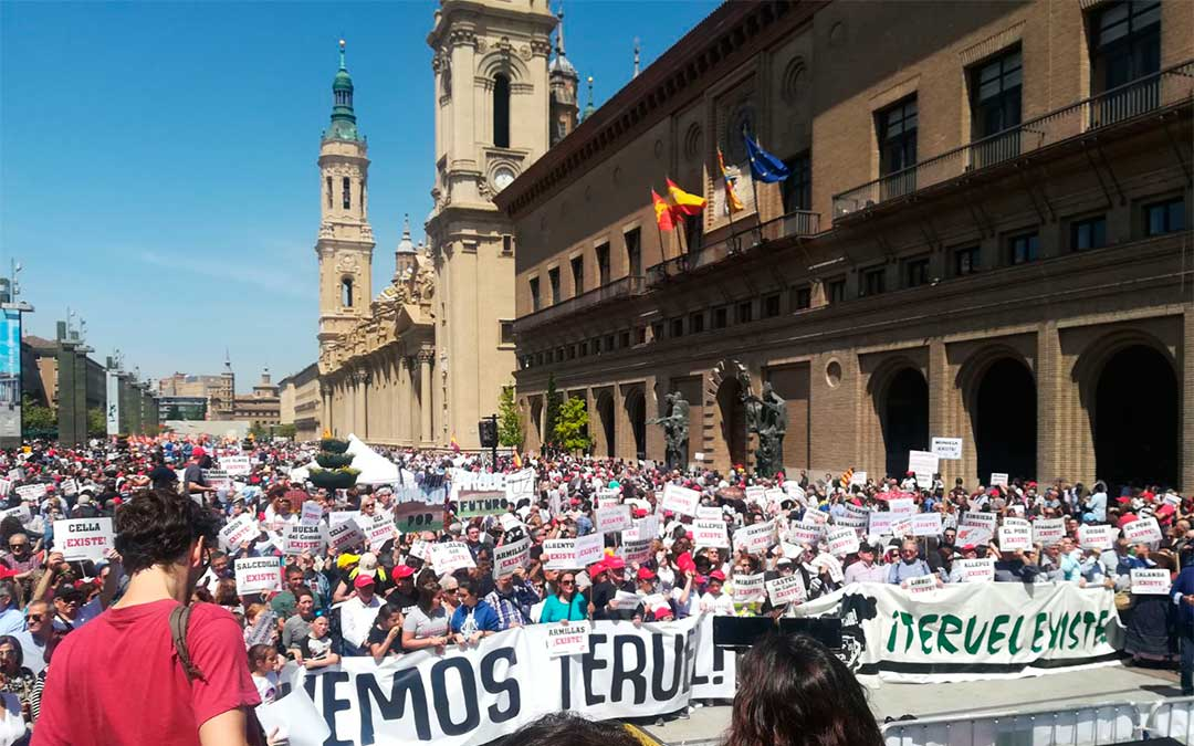 40.000 manifestantes en Zaragoza en el año 2018./ Teruel Existe