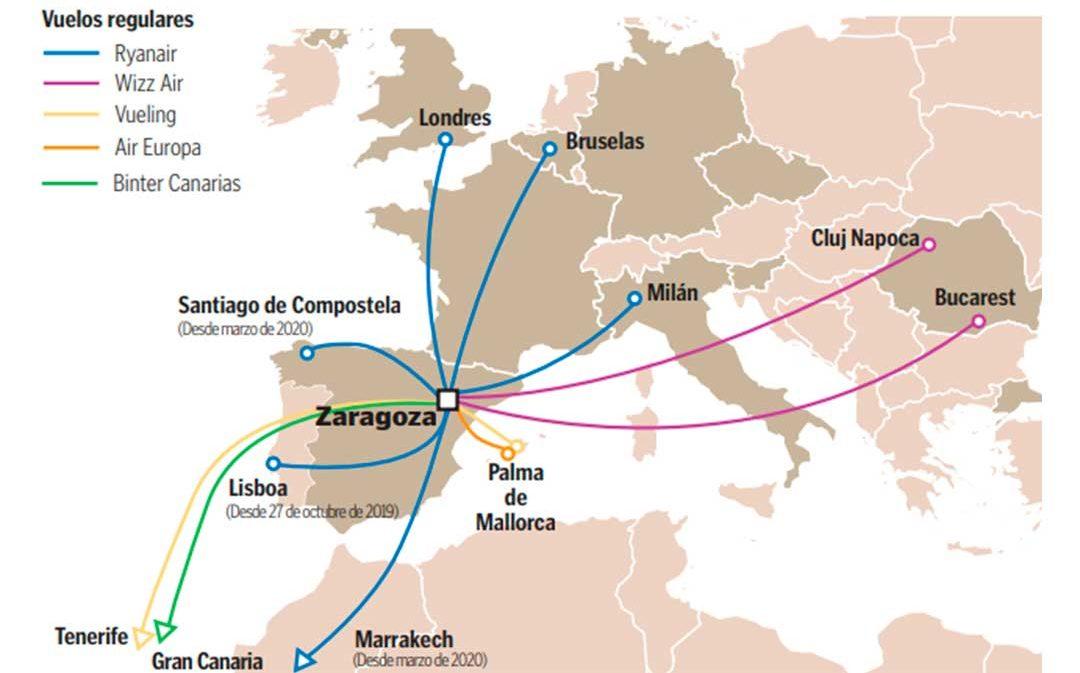 El aeropuerto de Zaragoza suma Santiago de Compostela y Marrakech a su carta de vuelos