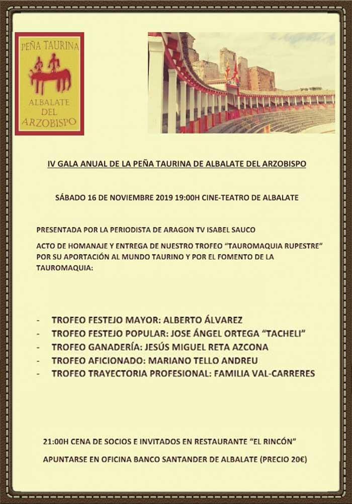 IV Gala anual de la peña taurina de Albalate del Arzobispo