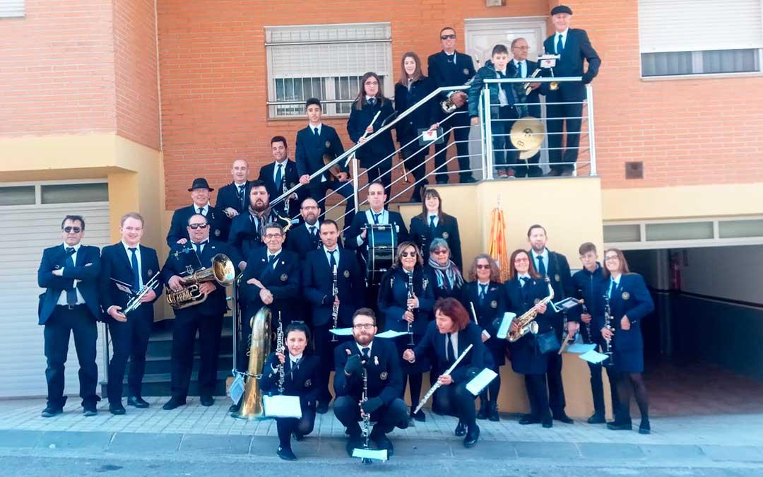 Miembros de la Banda de Música de Caspe el pasado sábado por la mañana.