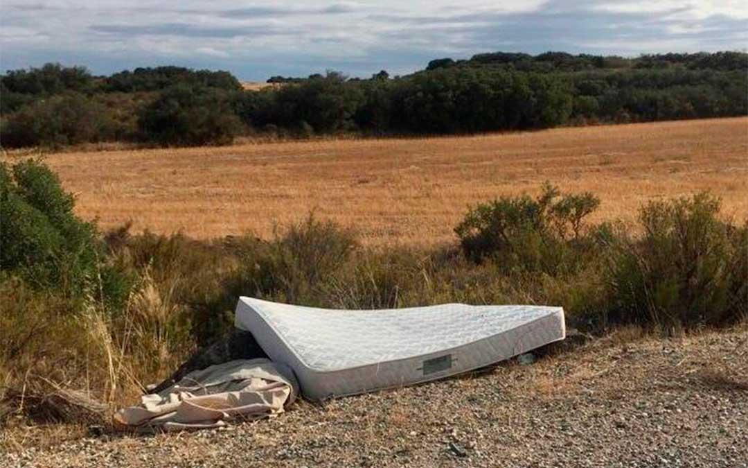 Residuos vertidos en el entorno de la carretera de Caspe./ Asociación de Amigos del Río y de los Espacios Naturales