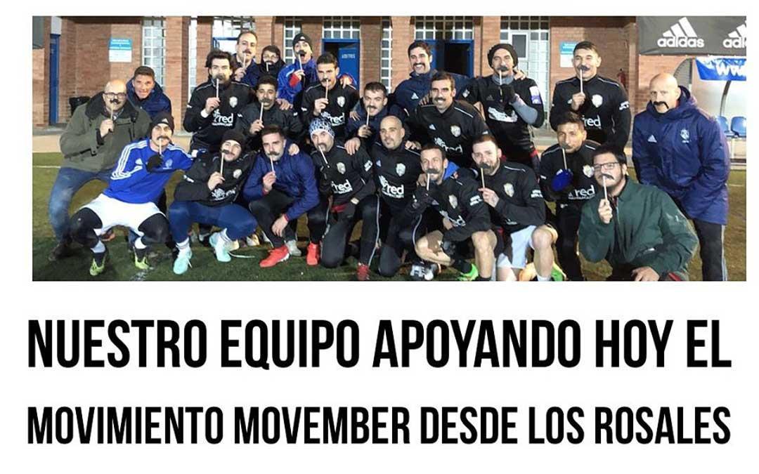 Imagen promocional en su web del C.D. Caspe con el movimiento Movember en los días previos al partido. / C.D. Caspe -web-
