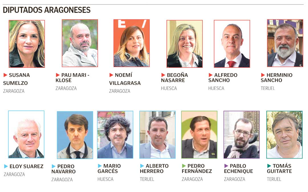 Diputados electos en Aragón