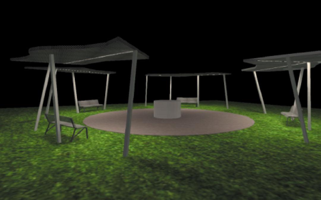 El proyecto trata de simular un bosque generando zonas de sombra donde se ubican los bancos y claros en las de paso
