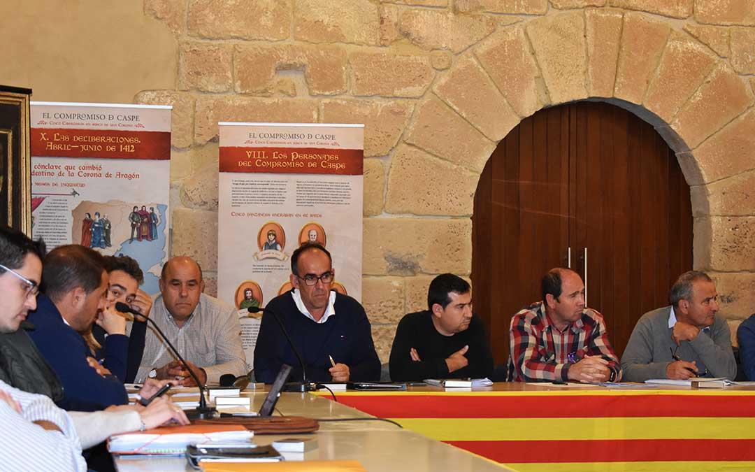 Los populares Felipe Cervera, Florencio Vicente, Roberto Cabistany y Javier Nicolás, durante un pleno comarcal.