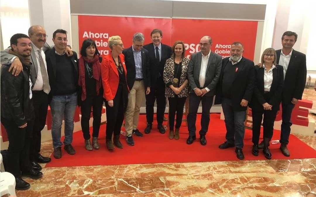 El encuentro con alcaldes y concejales ha contado con la participación de los secretarios generales de los socialistas aragoneses, Javier Lambán, y valencianos, Ximo Puig / PSOE