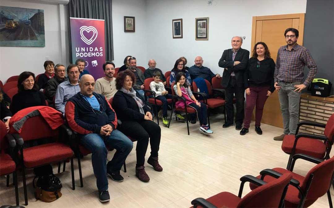 Candidatos de Unidas Podemos al Congreso y Senado por la provincia de Teruel en La Puebla de Híjar.