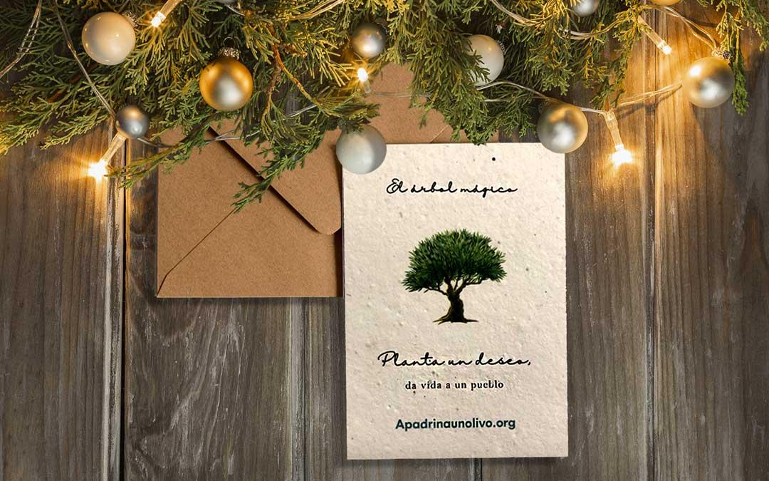 Tarjeta de la campaña de Navidad 'El árbol mágico' de Apadrinaunolivo