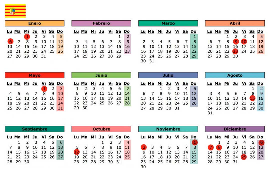 calendario laboral dias festivos aragon 2020