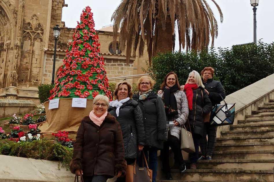 La asociación de la Mujer Caspolina ha creado árboles de Navidad reciclados con los que ha adornado Caspe / Asociación y Fiesta