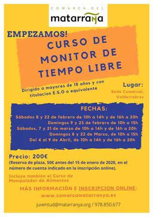 Cartel anunciador del curso de monitor de tiempo libre de la Comarca del Matarraña.