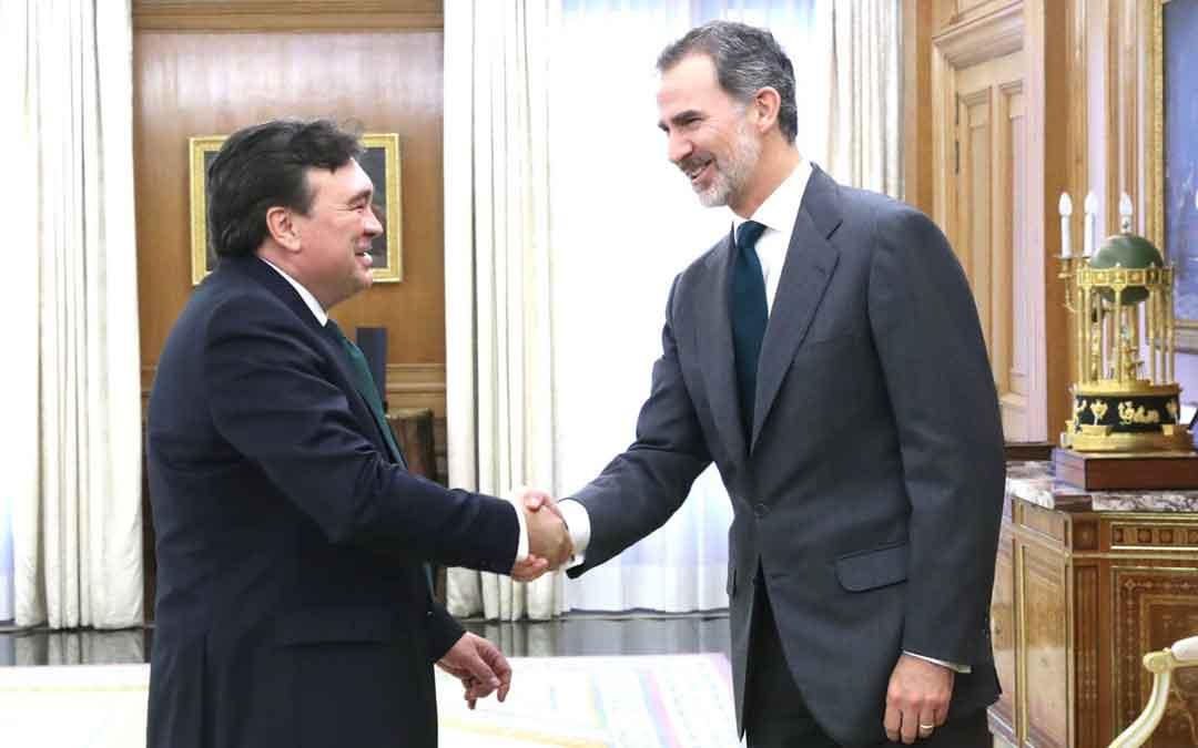 Tomás Guitarte durante su reunión con el rey Felipe VI este martes. TERUEL EXISTE