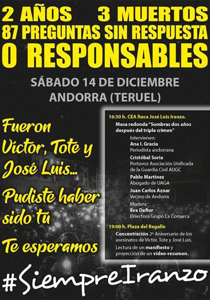 Aniversario triple crimen de Andorra: Mesa redonda y concentración