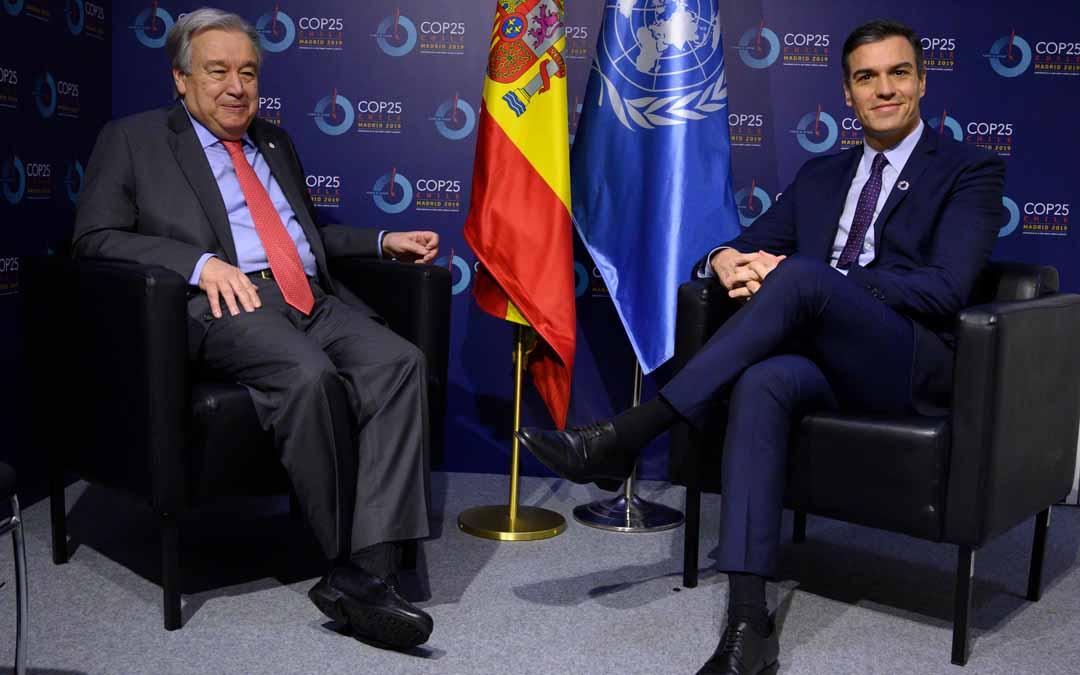 Guterres y Sánchez este lunes en la Cumbre del Clima.