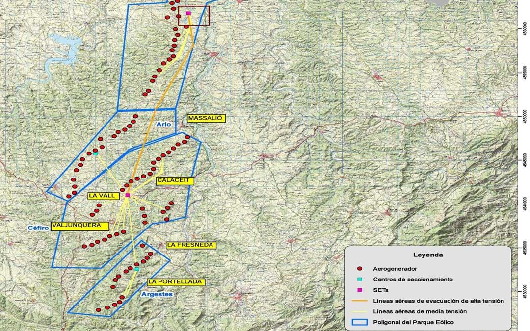 Mapa que se ha hecho público en las últimas horas y que muestra el hipotético emplazamiento de los aerogeneradores.
