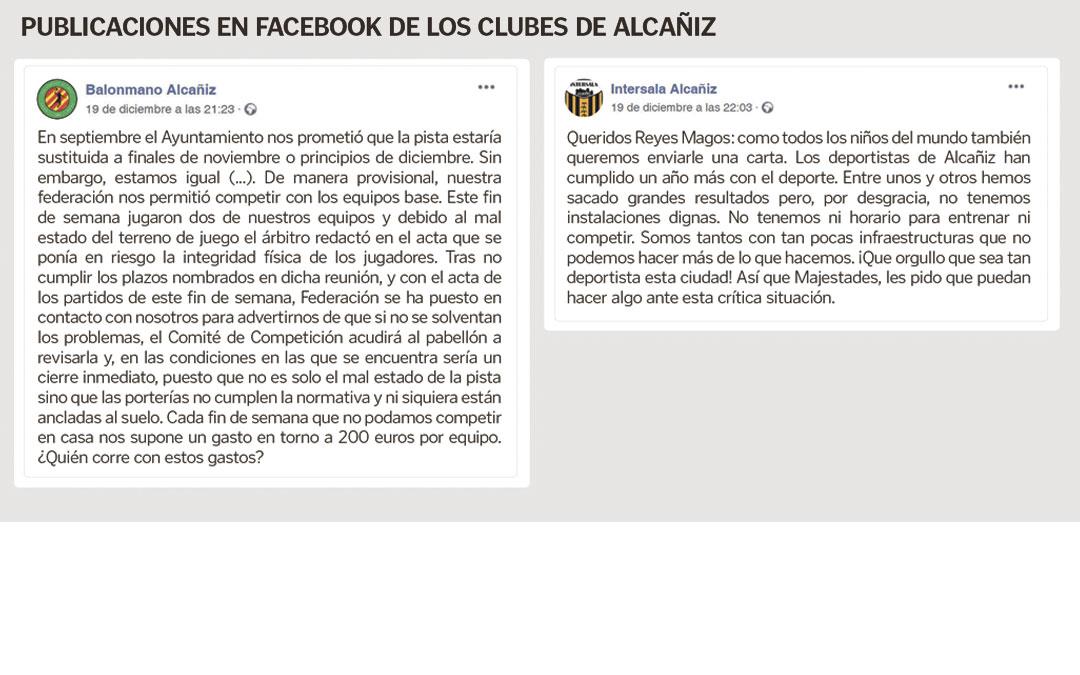 Publicaciones del Balonmano Alcañiz y el Intersala Alcañiz denunciando la situación en sus perfiles de la red social Facebook