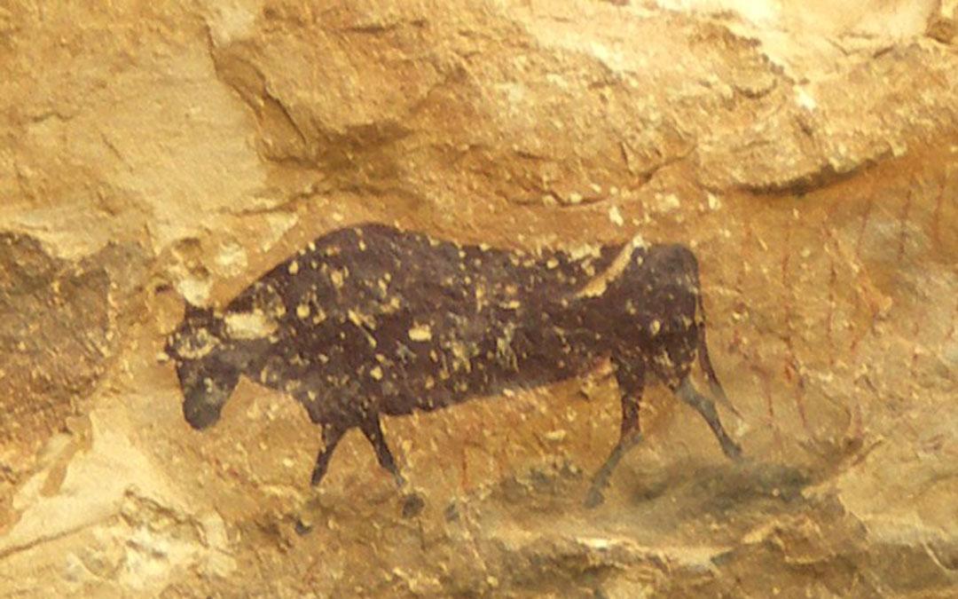 Ejemplo de pintura rupestre levantina, El Torico de Ladruñan./ Archivo fotofráfico del Parque Cultural del Maestrazgo