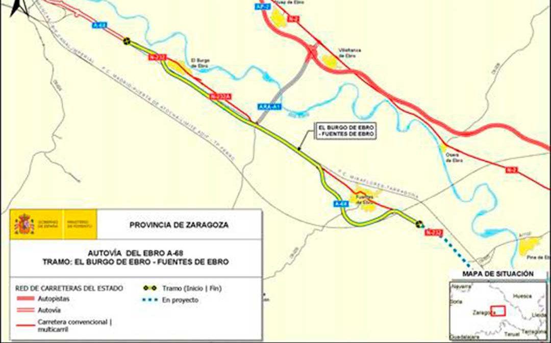 Fomento licita las obras de la A-68 entre El Burgo de Ebro y Fuentes