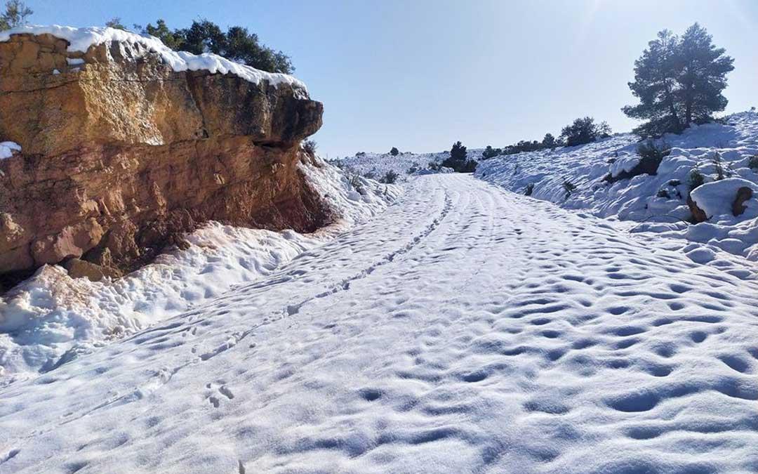 Carretera de Aguaviva a Las Parras de Castellote que queda por despejar para llegar a los repetidores de telecomunicaciones. / Ayuntamiento de Aguaviva