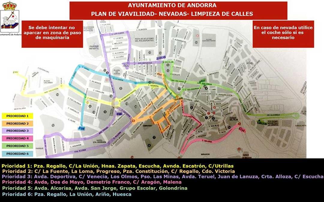 Plano con las prioridades en limpieza de nieve que ha difundido el Ayuntamiento de Andorra en redes sociales.