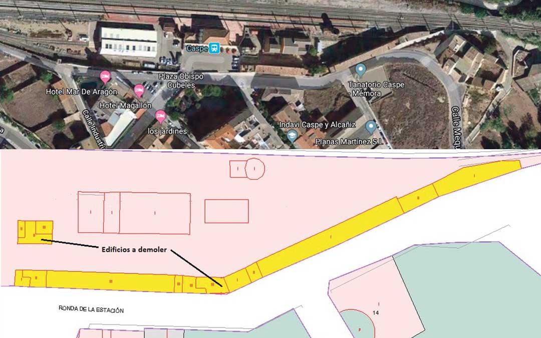 Mapa de los edificios que se van a demoler en la estación de tren de Caspe.