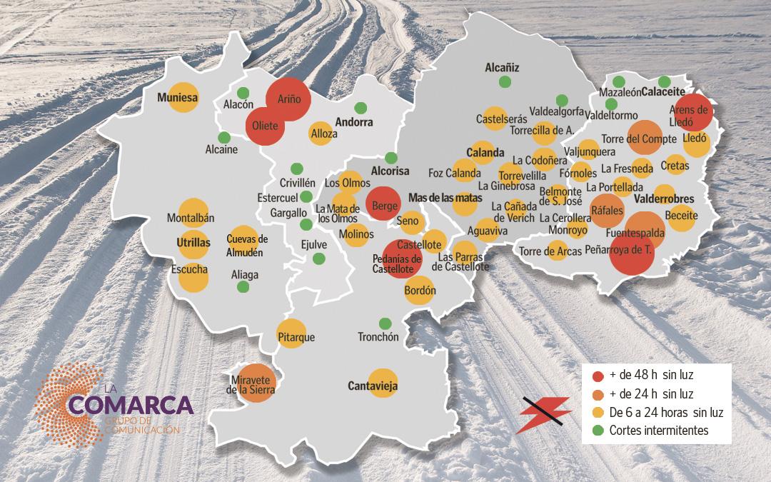 Infografía de los pueblos del Bajo Aragón Histórico afectados por los cortes en el suministro de luz./ Jorge Pérez
