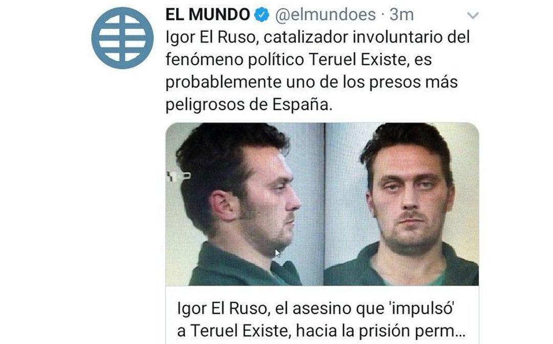 Periodistas de Aragón denuncia la manipulación de El Mundo que relaciona a Igor el Ruso con Teruel Existe