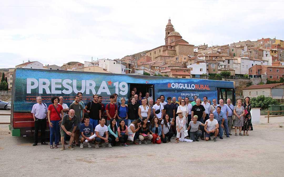 Oliete fue en julio una de las localidades que recibió la visita del 'autobús de la repoblación'.