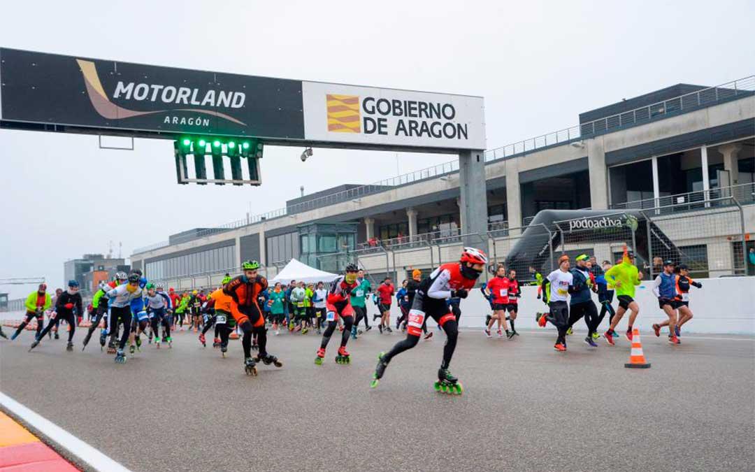 Salida de la carrera de running y patinaje de La Invernal de Motorland 2019./ Agency Sport Media.