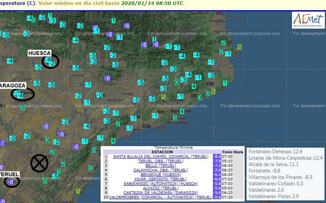Mapa de temperaturas mínimas realizado por @AEMET_Aragon