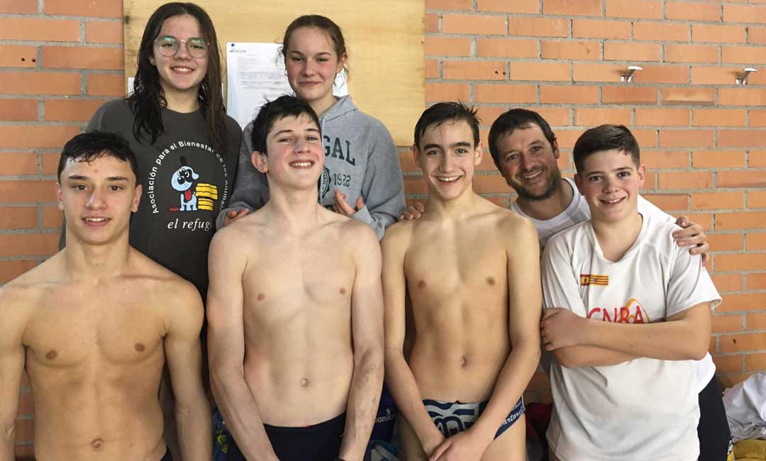 Miembros del Club Natación Bajo Aragón que estuvieron en Calatayud