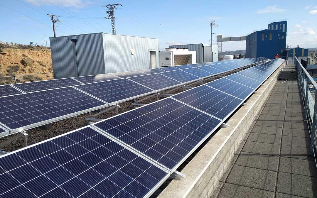 Placas solares sobre el tejado de la fábrica de piensos en Caspe./ Red Ganadera Caspe