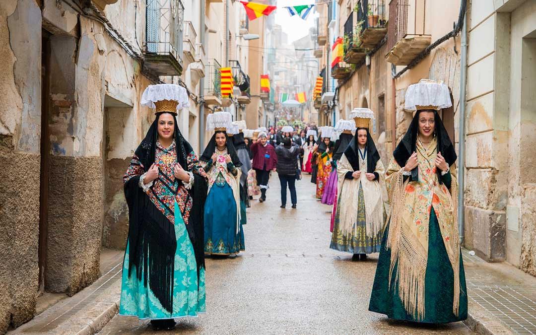 Procesión en honor a Santa Águeda en Escatrón en el año 2020./ L.C.