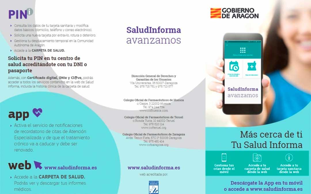 Tríptico informativo sobre las funcionalidades de Salud Informa./ DGA