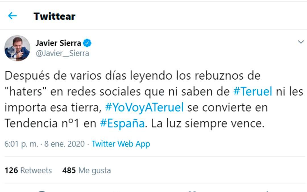 Los usuarios turolenses lanzaron la etiqueta #YoVoyATeruel en respuesta a la campaña #boicotTeruel./ Twitter