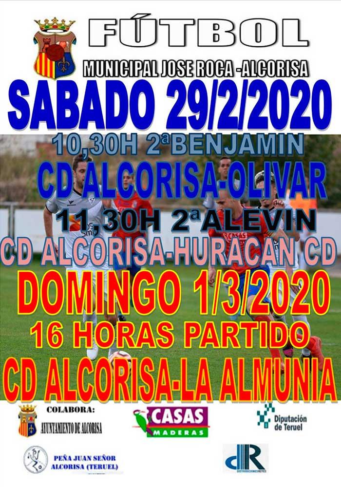 Agenda deportiva de Alcorisa 29 de febrero y 1 de marzo