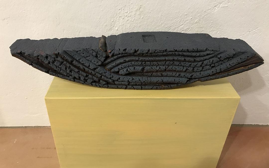 Los estratos de la cerámica de uno de los trabajos de Ferrando. / Chema Hernández