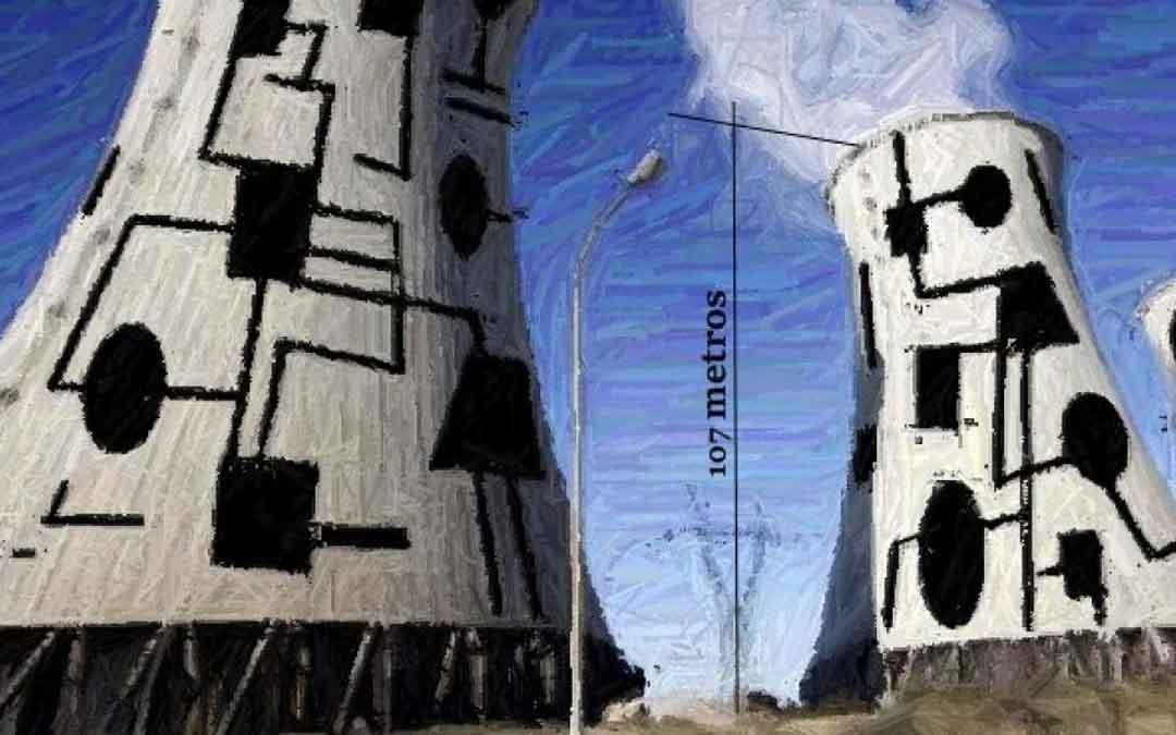 Recreación realizada por Miguel Ángel Arrudi de cómo quedarían las chimeneas de la central térmica de Andorra tras su intervención/ Miguel Ángel Arrudi. Heraldo de Aragón